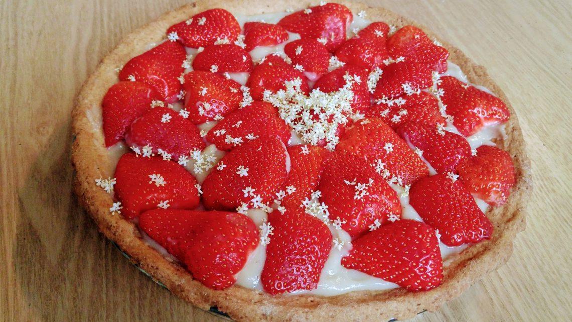Recette : tarte aux fraises et sureau
